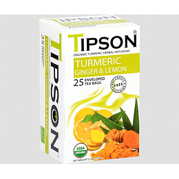 Té Cúrcuma Jengibre Limón 25 Bolsitas - Tipson Turmeric Ginger & Lemon