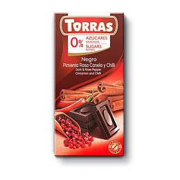 chocolate Torras, CHILI, negro, canela, pimienta rosa, 75g, sin azucar, sin gluten