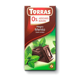 Chocolate MENTA Torras, 46% Cacao, 75 g, Sin Azúcar, Sin Gluten