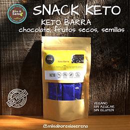 Barras Keto de chocolate 80% cacao mezclada con frutos secos y semillas. 5 unidades