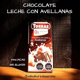 Chocolate con Leche y Avellanas 34% Cacao, sin gluten 75g - Torras