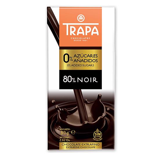 Chocolate Vegano 80% Cacao, Sin Azúcar, 80g Trapa