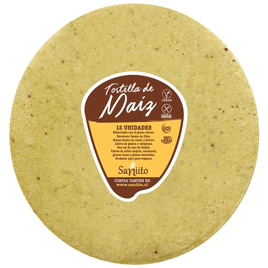 Tortilla de Maíz para Fajita L 21cm – 12 unidades, Saniito