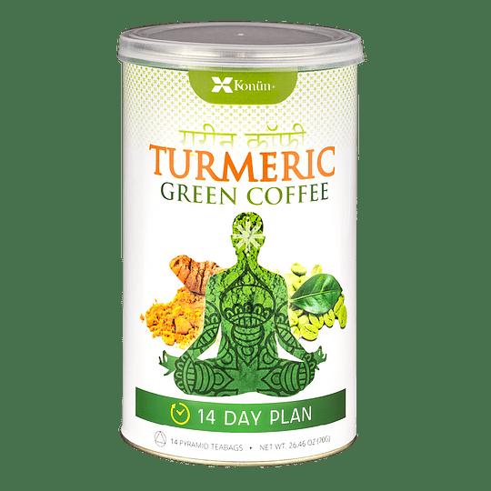 Turmeric Green Coffee Detox, Cúrcuma Café Verde Detox, Plan 14 días