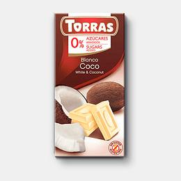 Chocolate Blanco con COCO, sin azúcar, sin gluten - Torras