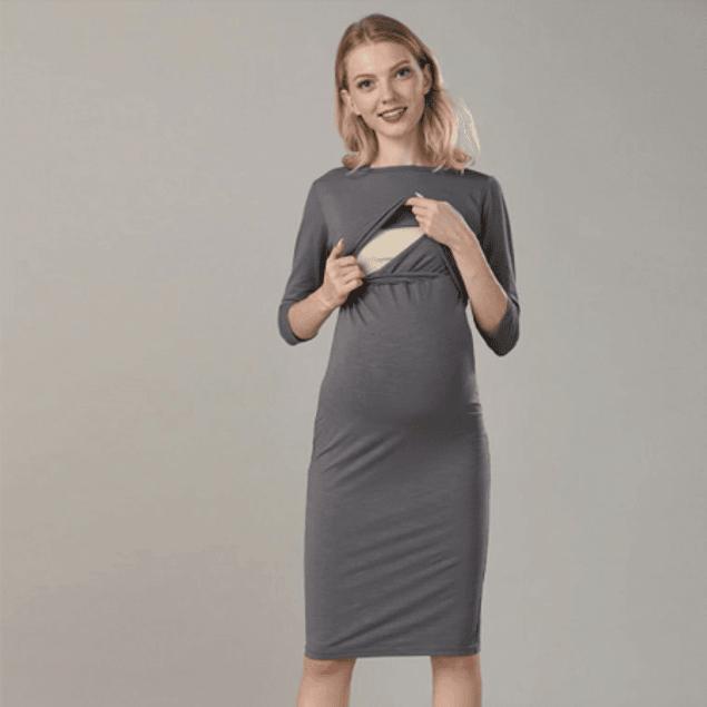 Vestido Lactancia y Embarazo Mariana GRIS