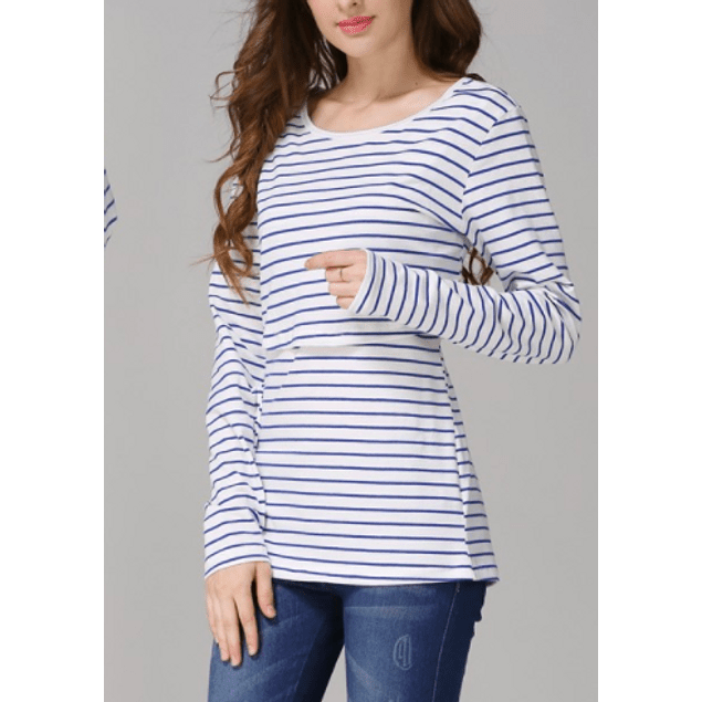 Polera Emma Embarazo y Lactancia Azul