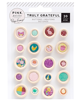 Pink Paislee Truly Grateful Buttons