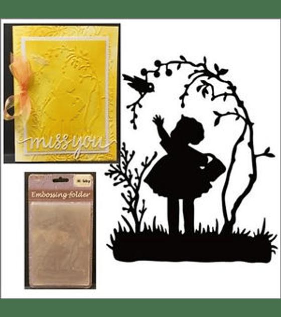 Embossing Folder Little Girl with Bird