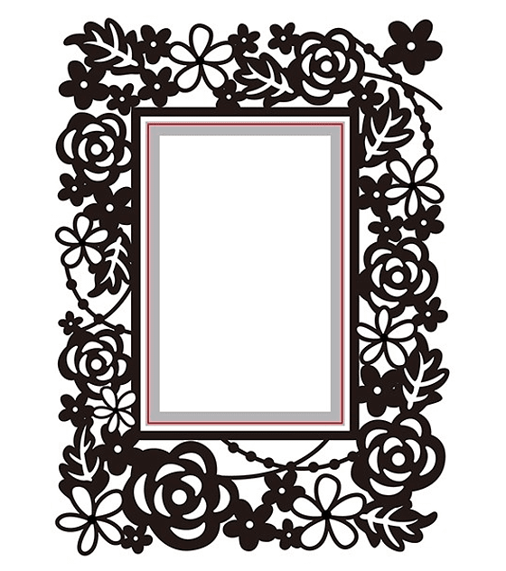 Cut and Emboss Rectangle floral