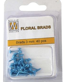 Floral Brads Glitter Blue