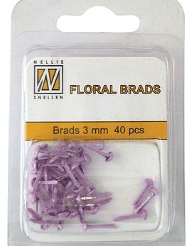 Floral Brads Glitter Baby Rose