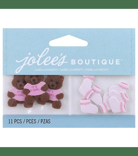 Jolees Baby Girl Bear and Booties rosados