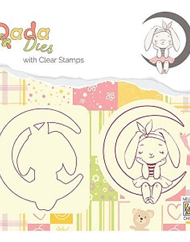 DADA Die with stamp Bunny on Moon