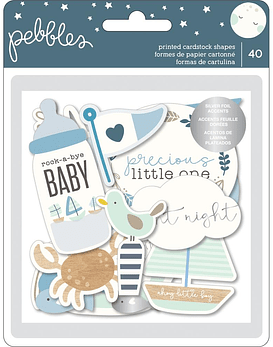 Die-Cuts Night Night Baby Boy Ephemera Cardstock
