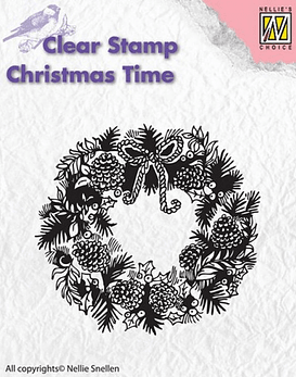 Nellie's CLear Stamps Christmas Wreath