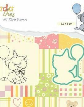 DADA Stamp and Die Set Birthday Kitten
