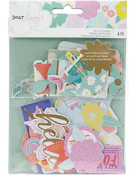 Dear Lizzy Stay Colorful Ephemera Cardstock Die-Cuts 40/Pkg
