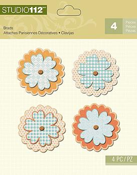 Studio 112 Orange Flower Brads