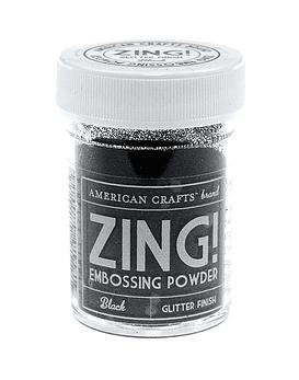 Zing Polvos de Embossing Black Glitter