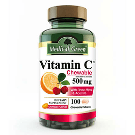 Vitamina C Masticable 500 mg 100 Tabletas Medical Green