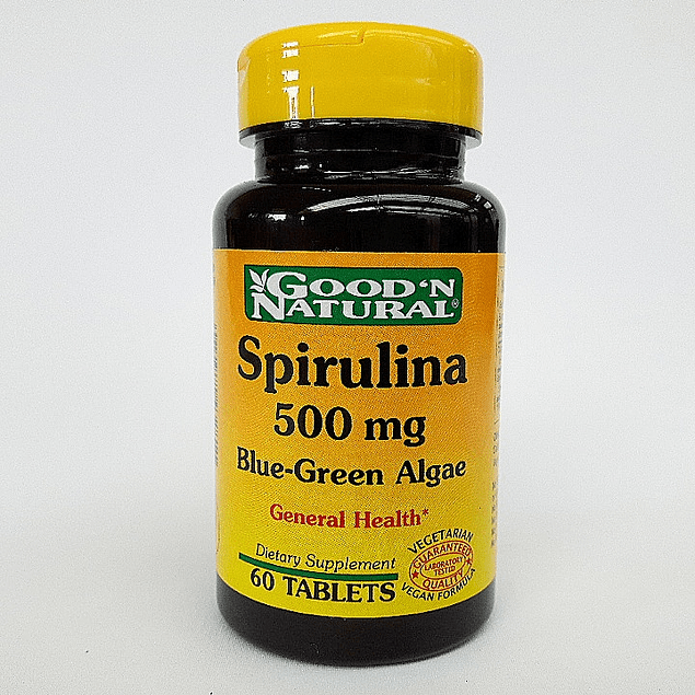 Spirulina  500mg  Blue Green Algae  60 Tabletas Good´N Natural
