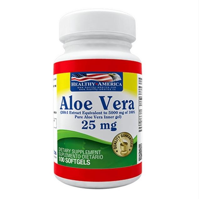 Aloe Vera 25 mg  100 softgels  Healthy America