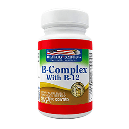 B-Complex With B-12  90 Caplets Healthy America