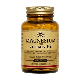 Magnesium with Vitamin B6 100 Tabletas Solgar Magnesio