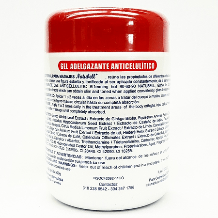 Gel Caliente Adelgazante y Anticelulitico 500g