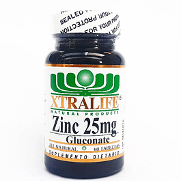 Zinc 25 mg Gluconate 60 Tabletas Xtralife