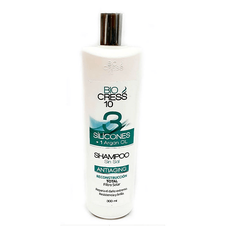 Shampoo 3 Siliconas mas aceite de argan Biocress 300 ml