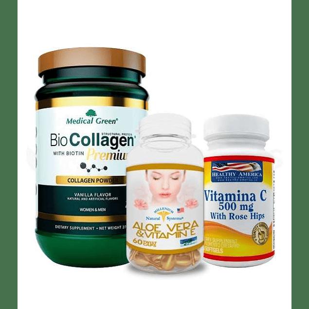 Combo para mamá Colageno con Biotina Aloe vera Topico y Vitamina C