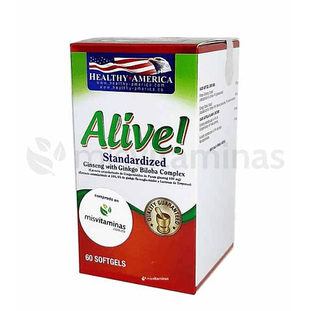 Alive Standardized Ginseng con Ginkgo Biloba Healthy America