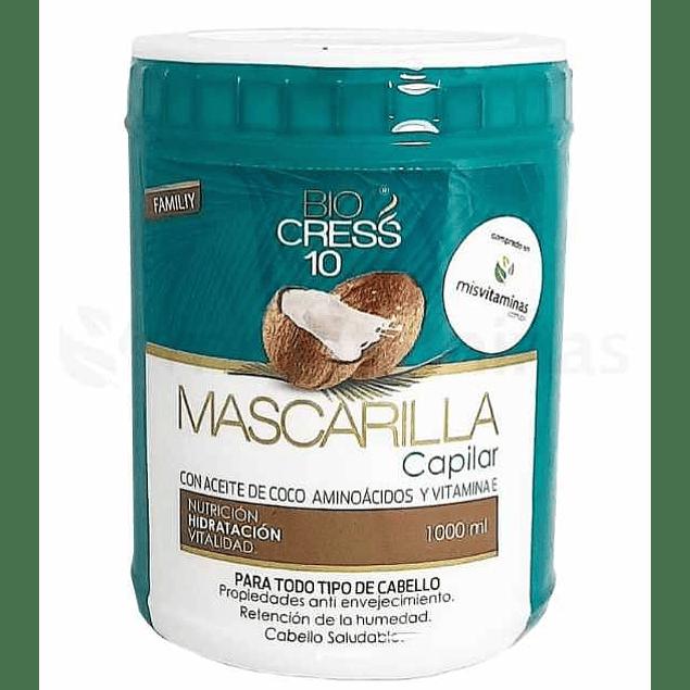 Mascarilla capilar con aceite de Coco aminoácidos y vitamina E Biocress 10