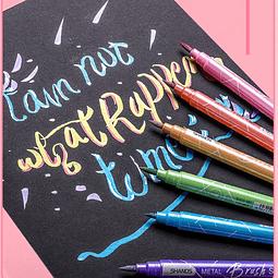 Lápices pincel metalizados 12 colores
