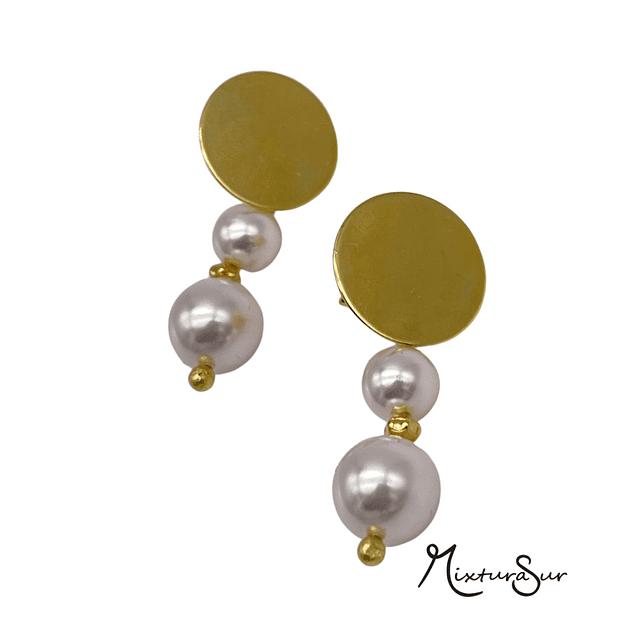 Aros Oro 14k Rombo y perlas