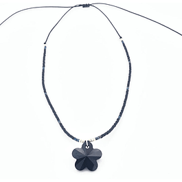 Collar flor Swarovski negro