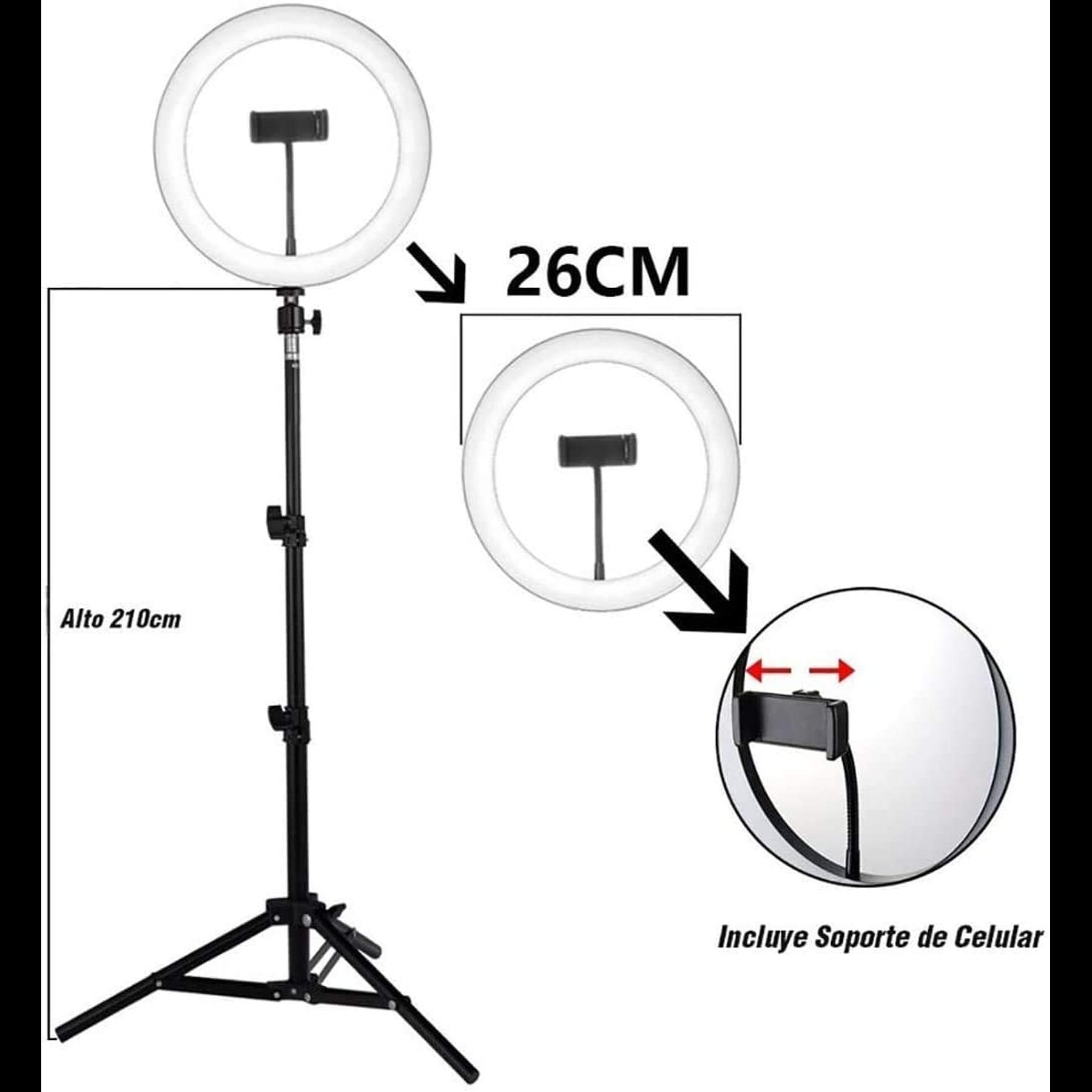 Aro de luz de 26 cm de diámetro + Trípode de 2m