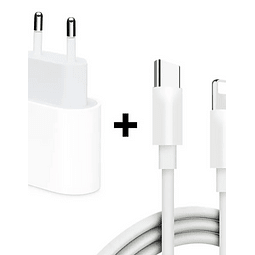 Pack Cable Lightning a usb-C + Adaptador 18w