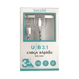 Cable 3 en 1 (Micro Usb - Tipo C - Lightning)