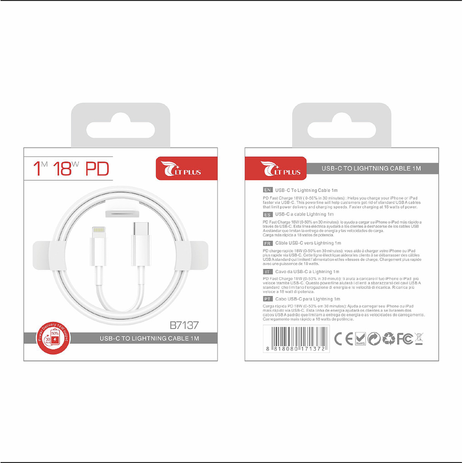 Cable Lightning a usb-C 1m