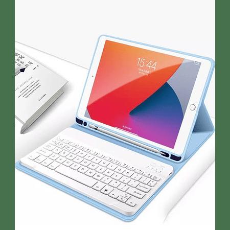"""Funda + Teclado iPad 10.2"""" - Ranura Apple Pencil (Color: Celeste)"""