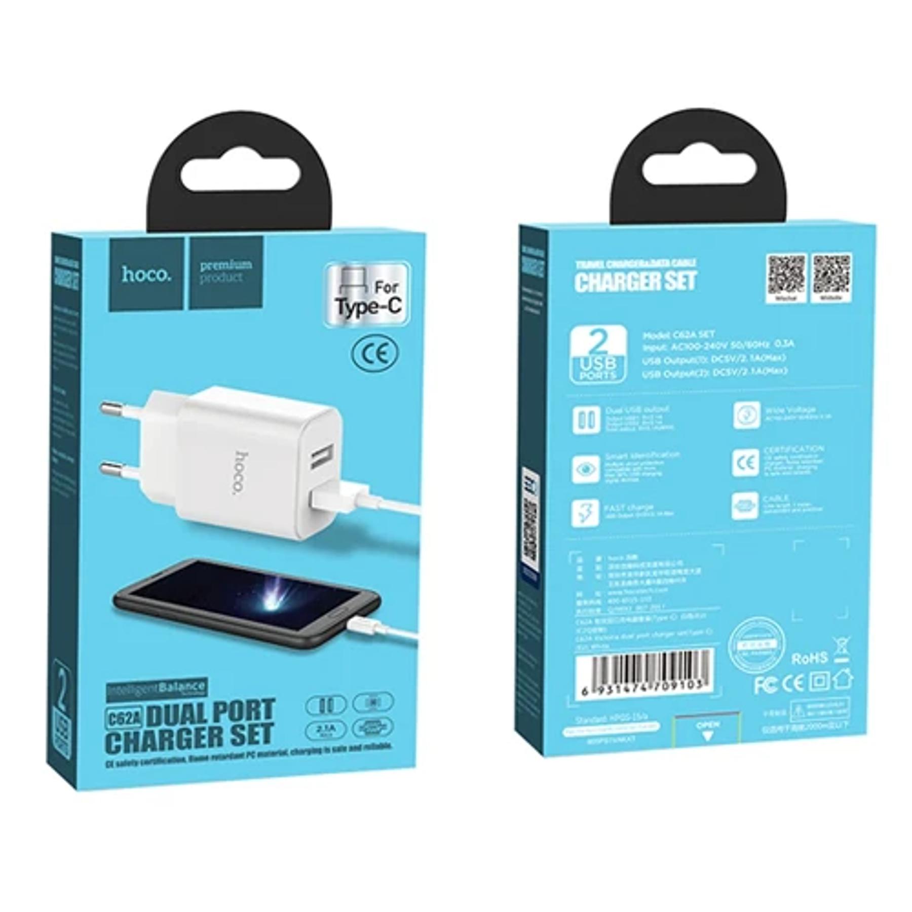 Cargador Completo Tipo C con 2 entradas USB - Hoco