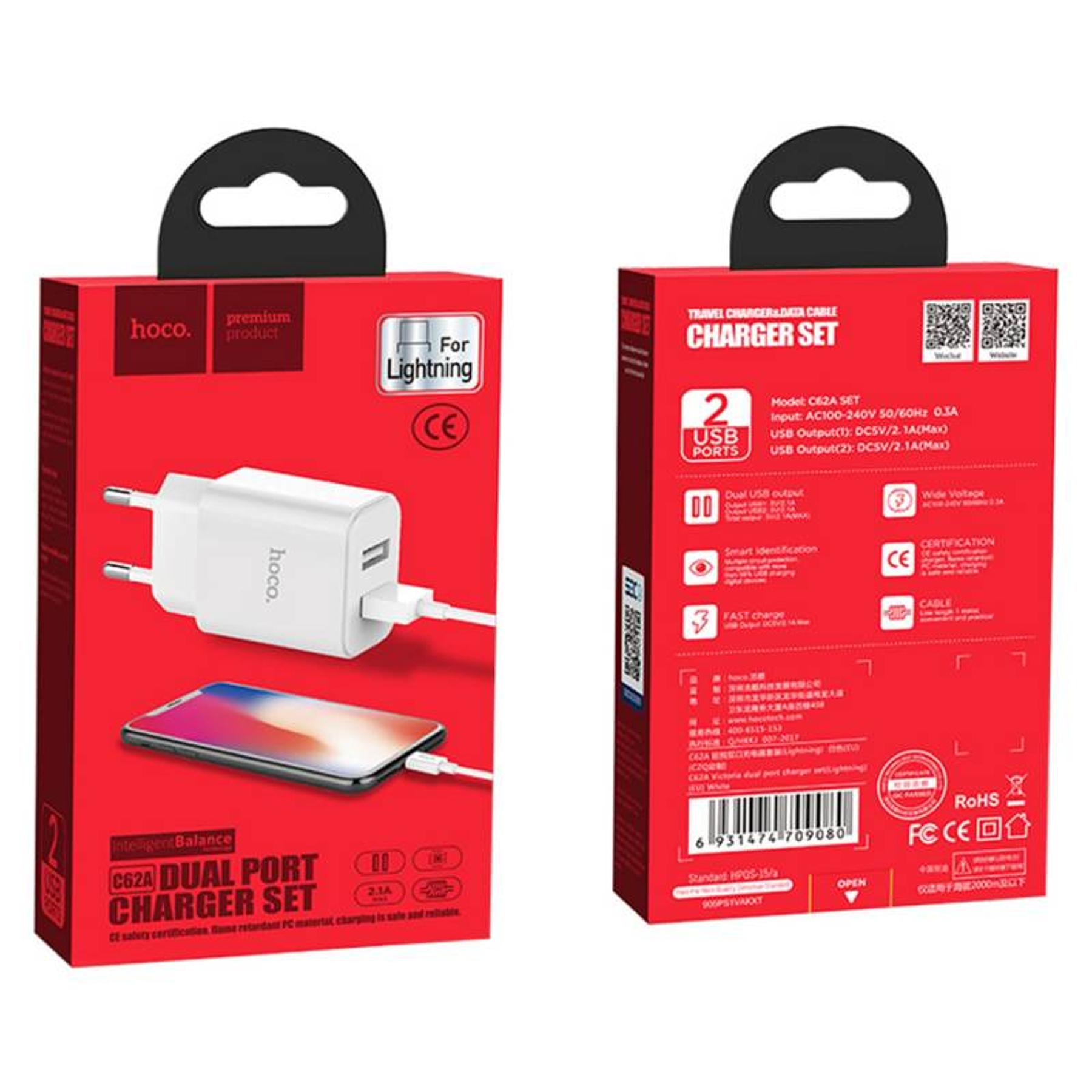 Cargador Completo Lightning con 2 entradas USB - Hoco