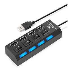 4 Puertos Led Usb 2.0 Hub Con Switch On/off Extensión Usb