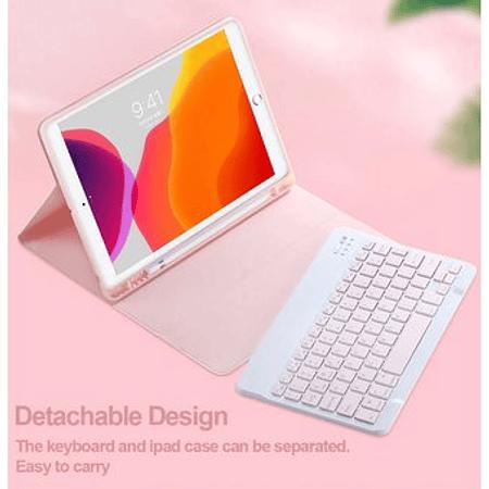 """Funda + Teclado Rosado iPad 10,2"""" - Ranura Apple Pencil (Color: Rosado T: Rosa)"""