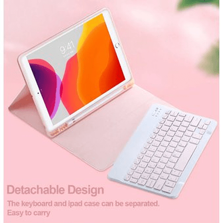 """Funda + Teclado Rosado iPad 10.2"""" / 10.5"""" - Ranura Apple Pencil (Color T: Rosa)"""