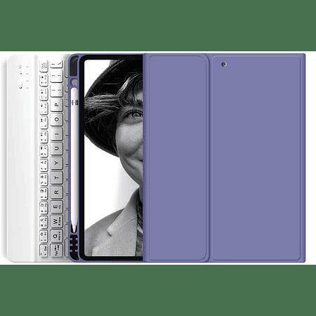"""Funda + Teclado iPad 10,9"""" (Air 4) - Ranura Apple Pencil (Color: Lavanda Grisáceo)"""