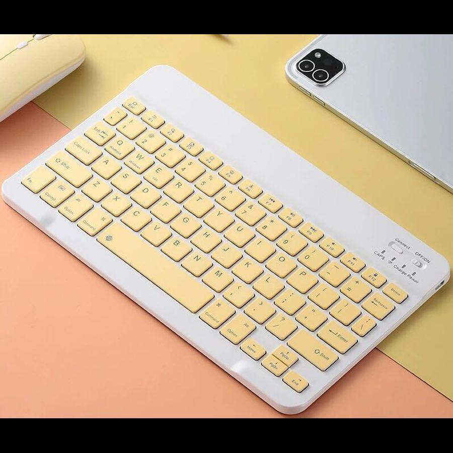 Teclado Bluetooth Amarillo (Compatible con dispositivos Bluetooth: iPad, Tablet, Pc, Notebook)